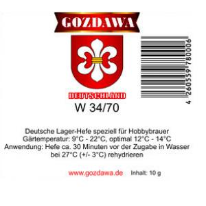 Пивные дрожжи Gozdawa W-34/70 (Польша), 10 гр.
